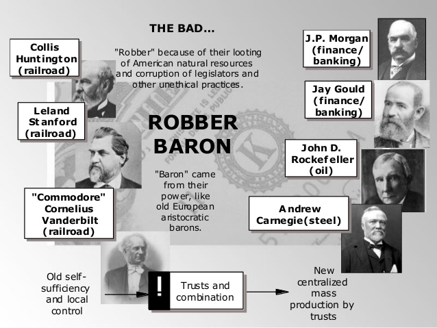 the robber barons in the history of mankind Robber baron is a term used to refer to 19th century  robber barons — 19th century businessmen who rose to  unprecedented in the history of mankind .