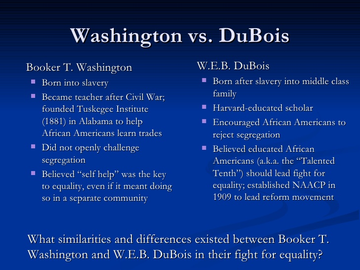 washington vs du bois Free essay: booker t washington and web du bois, both early advocates of the civil rights movement, offered solutions to the discrimination experienced.